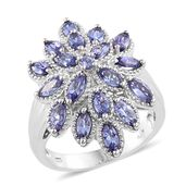 Premium AAA Tanzanite Platinum Over Sterling Silver Flower Ring (Size 5.0) TGW 2.85 cts.