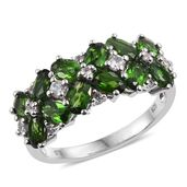 Nitin's Knockdown Deals Russian Diopside, Cambodian Zircon Platinum Over Sterling Silver Ring (Size 5.0) TGW 3.74 cts.