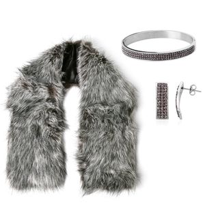 Gray Faux Fur Stole (38x5.5 in), Austrian Crystal Stainless Steel Bangle (7 in) and Earrings