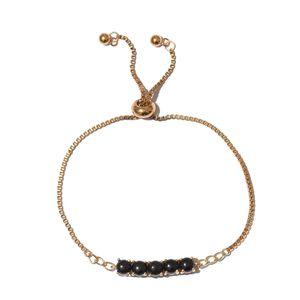 Thai Black Spinel ION Plated 18K YG Brass Magic Ball 5 Stone Bracelet (Adjustable) TGW 4.80 cts.