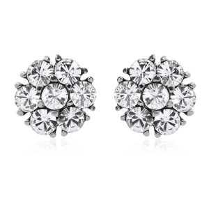 Stainless Steel Floral Stud Earrings Made with SWAROVSKI White Crystal TGW 0.98 cts.