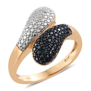 KARIS Collection - Blue Diamond (IR), Diamond Accent ION Plated 18K YG, Black and Platinum Bond Brass Bypass Ring (Size 7.0)