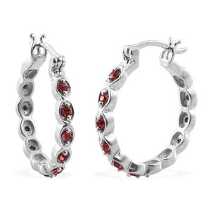 KARIS Collection - Platinum Bond Brass Hoop Inside Out Hoop Earrings Made with SWAROVSKI Rubellite Crystal TGW 0.62 cts.