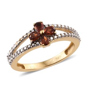 KARIS Collection - Mozambique Garnet ION Plated 18K YG Brass Floral Split Ring (Size 6.0) TGW 0.76 cts.