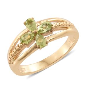 KARIS Collection - Hebei Peridot ION Plated 18K YG Brass Flower Split Ring (Size 9.0) TGW 1.00 cts.