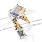 Mercury Mystic Topaz, White Topaz 14K YG and Platinum Over Sterling Silver Ring (Size 11) and Pendant With Chain (20 in) TGW 7.40 cts.