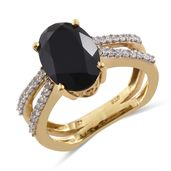 Thai Black Spinel, Cambodian Zircon 14K YG Over Sterling Silver Split Euro Style Ring (Size 7.0) TGW 8.40 cts.