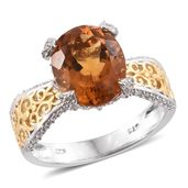 Tony's Collector Show Santa Ana Madeira Citrine, Cambodian Zircon 14K YG and Platinum Over Sterling Silver Ring (Size 5.0) TGW 5.20 cts.