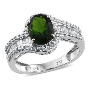 14K WG Russian Diopside, Diamond Ring (Size 7.0) TDiaWt 0.47 cts, TGW 2.37 cts.