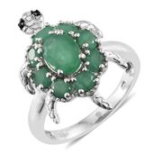Kagem Zambian Emerald, Thai Black Spinel Platinum Over Sterling Silver Tortoise Ring (Size 6.0) TGW 2.55 cts.