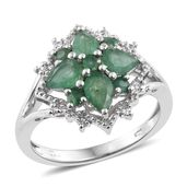 Kagem Zambian Emerald, Cambodian Zircon Platinum Over Sterling Silver Ring (Size 5.0) TGW 2.02 cts.