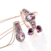 Rose De France Amethyst, Madagascar Pink Sapphire, Diamond Accent 14K RG Over Sterling Silver Earrings, Ring (Size 9) and Pendant With Chain (20 in) TGW 4.59 cts.