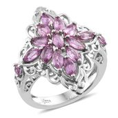 Madagascar Pink Sapphire Platinum Over Sterling Silver Cluster Ring (Size 8.0) TGW 2.37 cts.