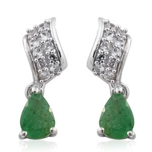 Kagem Zambian Emerald, Cambodian Zircon Platinum Over Sterling Silver Drop Earrings TGW 1.66 cts.