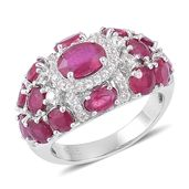 Niassa Ruby, White Zircon Sterling Silver Cluster Ring (Size 9.0) TGW 7.47 cts.