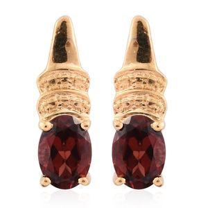 KARIS Collection - Mozambique Garnet ION Plated 18K YG Brass Drop Earrings TGW 1.86 cts.