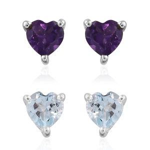 Sky Blue Topaz, Amethyst Sterling Silver Set of 2 Earrings TGW 2.02 cts.