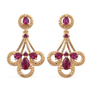 KARIS Collection - Simulated Ruby ION Plated 18K YG Brass Dangle Earrings TGW 2.02 cts.