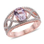 KARIS Collection - Rose De France Amethyst ION Plated 18K RG Brass Ring (Size 9.0) TGW 2.35 cts.