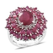 Srikant's Showstopper Niassa Ruby Platinum Over Sterling Silver Flower Ring (Size 7.0) TGW 9.33 cts.