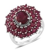 Srikant's Showstopper Niassa Ruby Platinum Over Sterling Silver Flower Ring (Size 9.0) TGW 9.33 cts.