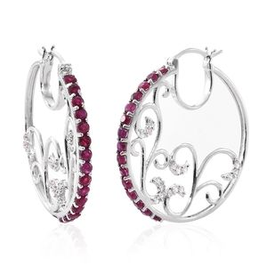 Srikant's Showstopper Burmese Ruby, Cambodian Zircon Platinum Over Sterling Silver Earrings TGW 2.94 cts.