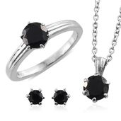 Thai Black Spinel Stainless Steel Earrings, Ring (Size 8) and Pendant With Chain (20 in) TGW 3.96 cts.