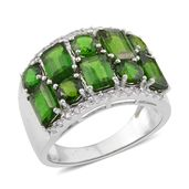 Russian Diopside, White Zircon Sterling Silver Ring (Size 8) TGW 4.880 Cts. TGW 4.88 Cts.
