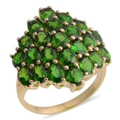 10K YG Russian Diopside Cluster Ring (Size 5.0) TGW 4.52 cts.