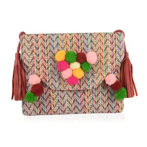 Multi Color 100% Cotton Jacquard RFID Sling Bag with Tassels (11.5x8.5 in)