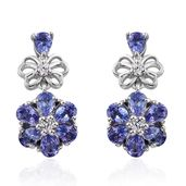 Premium AAA Tanzanite, Cambodian Zircon Platinum Over Sterling Silver Earrings TGW 2.50 cts.