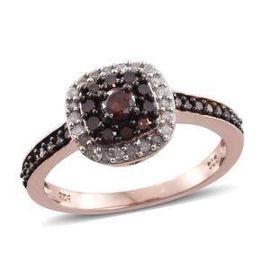 Red Diamond (IR), Diamond Black Rhodium & 14K RG Over Sterling Silver Ring (Size 9.0) TDiaWt 0.75 cts, TGW 0.75 cts.