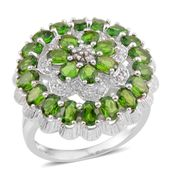Russian Diopside, White Zircon Sterling Silver Ring (Size 6) TGW 4.770 Cts. TGW 4.77 Cts.