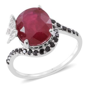 Niassa Ruby, Thai Black Spinel, Cambodian Zircon Sterling Silver Ring (Size 8.0) TGW 7.39 cts.