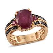 Dan's Collector Deal Niassa Ruby, Thai Black Spinel 14K YG Over Sterling Silver Ring (Size 8.0) TGW 6.43 cts.