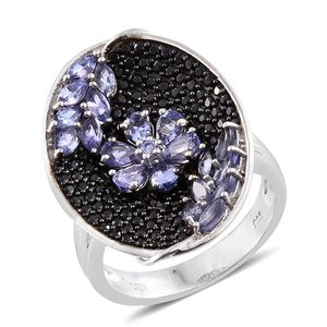 Premium AAA Tanzanite, Thai Black Spinel Black Rhodium & Platinum Over Sterling Silver Floral Cluster Ring (Size 5.0) TGW 3.96 cts.