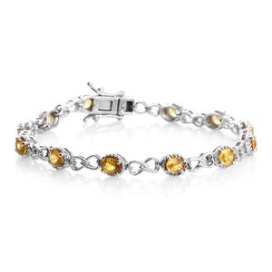 Yellow Sapphire Platinum Over Sterling Silver Bracelet (7.50 In) TGW 5.70 cts.