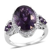 Lusaka Amethyst, Cambodian Zircon Platinum Over Sterling Silver Ring (Size 6.0) TGW 10.40 cts.