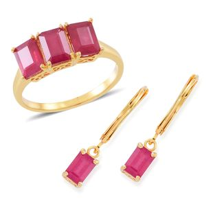 Niassa Ruby 14K YG Over Sterling Silver Lever Back Earrings and Ring (Size 10) TGW 6.50 cts.