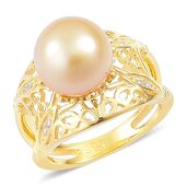South Sea Golden Pearl (10-10.5 mm), White Zircon 14K YG Over Sterling Silver Ring (Size 9.0) TGW 0.08 cts.