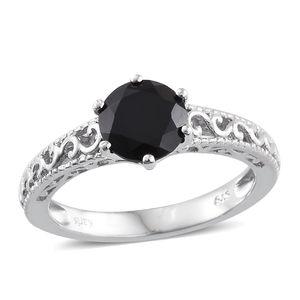 KARIS Collection - Thai Black Spinel Platinum Bond Brass Ring (Size 8.0) TGW 2.50 cts.