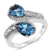 Karen's Fabulous Finds London Blue Topaz, White Topaz Platinum Over Sterling Silver Ring (Size 9.0) TGW 5.08 cts.