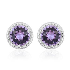 Sterling Silver Stud Earrings Made with SWAROVSKI Lilac Crystal