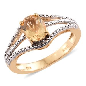 KARIS Collection - Brazilian Citrine ION Plated 18K YG Brass Ring (Size 7.0) TGW 1.65 cts.