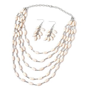 MEGA CLEARANCE White Howlite Black Oxidized Silvertone & Stainless Steel Earrings and Drape Necklace (20 in) TGW 768.00 cts.