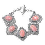 Peruvian Pink Opal Sterling Silver Bracelet (7.50 In) TGW 21.35 cts.