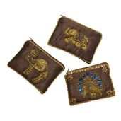 Set of 3 Dark Brown Embroidered Beaded Coin Purse (5x3.5 in)