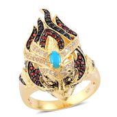 Arizona Sleeping Beauty Turquoise, Multi Gemstone 14K YG Over Sterling Silver Ring (Size 6.0) TGW 2.20 cts.