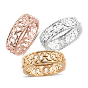 KARIS Collection - ION Plated 18K YRG and Platinum Bond Brass Set of 3 Ring (Size 7)