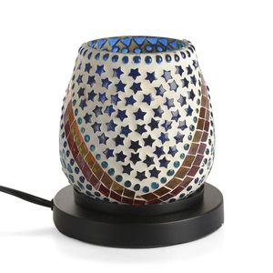 Handcrafted Blue and Green Multi Shape Design Mosaic Electric Lamp with Himalayan Salt (5.5 in)